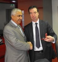 Mr Mohammed Amara at presentation to National Executive, ICTU, with John Douglas, ICTU President